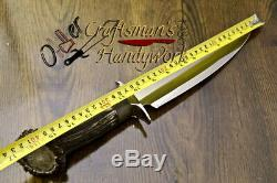 16 Unique Custom Made D2 Steel One Of Kind Bowie Knife, Stag Crown Handle- O-03