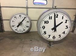 40 Neon Revolving Clock Thermometer from downtown bank sign. 1950s One of kind