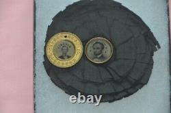 Abrham Lincoln 1864 Campaign Ferrotype On Mourning Rosette One Of A Kind