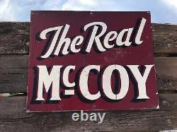 Antique Advertising Sign, The Real McCoy, ORIGINAL ONE OF A KIND Steel One-Sided
