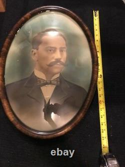 Antique Convex Bubble Glass Oval Picture Frame With One Of A Kind Pic In It