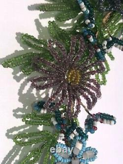 Antique French Glass Seed Bead Floral Wreath Stunning one of a kind beaded