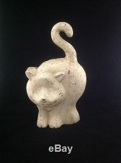 Antique Vintage Cast Iron Chubby White Cat Kitty Kitten Doorstop One Of A Kind