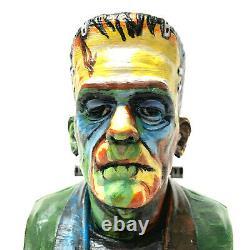 Artist Design One Of A Kind Frankenstein Hand Painted Bust Wooden Base