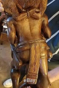 Black walnut Native american holding deer wood carving sculpture (one of a kind)