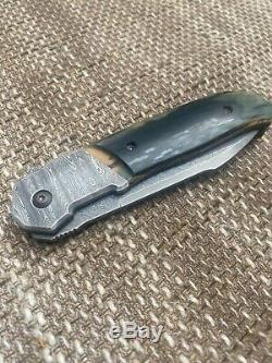 Bob Terzuola one of a Kind Damascus Flipper custom Knife
