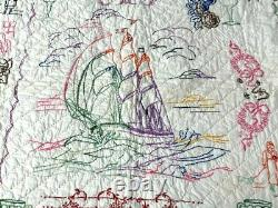 Book Worthy! PA Dated 1937 Pictorial CRIB Quilt Vintage Ship Motifs ONE of KIND
