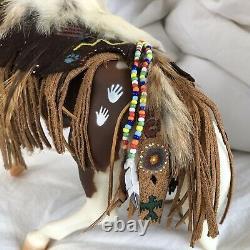 Breyer Traditional Gawani Pony Boys Kola white AND One of a kind Native Tack