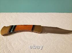 Buck 110 Knife One of a Kind Custom Cherry Elk Antler Blue @ Black Turquoise
