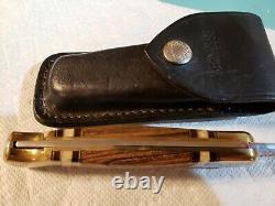 Buck 110 One of a Kind Custom Wood Handle withCats Eye and Pearl Acrylic Inlays
