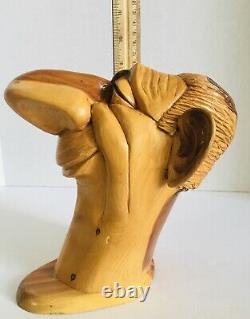 Carved Wood Caricature Big Nose Head Bust Unique One of a Kind
