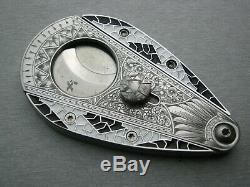 Cloisonne Xikar cigar cutter custom hand engraved Xi3 Art deco One of a kind