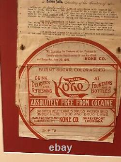 Coca Cola KOKE soda legal document / barrel head label RARE teens one of a kind
