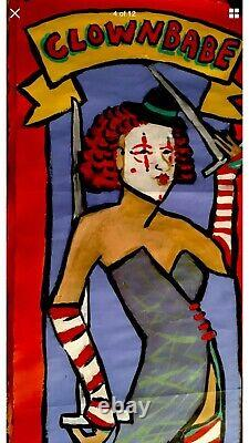 Coney Island Oil Painting Freak Show Banner Art, Oil On Paper One Of A Kind