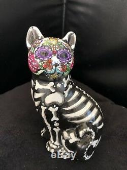 Day Of The Dead Cat Kitty Figurine Statue Sugar Skull 2019 One Of A Kind Art