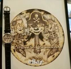 Disney RARE ONE OF A KIND Artist Drawn Pirate Mickey Mouse Watch & Print Mint