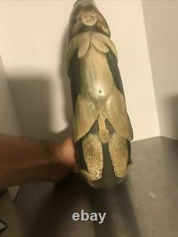 Erotic 1970s Hand Carved Powder Horn Unique Vintage Boho Piece One Of A Kind