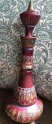 Hand Painted Genie Bottle One Of A Kind Magenta Colored Bottle Ships Fast