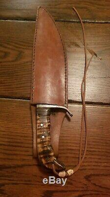 Hand forged bowie knifeCustom DesignHandmade Leather SheathOne Of A Kind