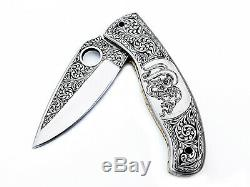 IB 2 Custom Hand Made D2 One Of Kind Special Engraved Folding Knife