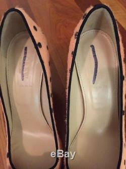 J. Crew Collection Calf Hair Bow Dover Pump In Coral & Black Sz 7 ONE OF A KIND