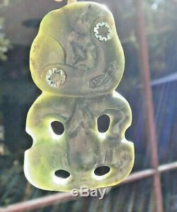 Large One Of Kind Nz Greenstone Pounamu Nephrite Marsden Jade Maori Hei Tiki