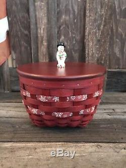 Longaberger One Of A Kind Snowflake Snowman Themed Bowl Prototype