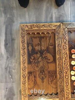 Master Artist Walnut Backgammon- One Of The Kind