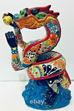 Mexican Talavera Animal Pottery Dragon Figure Folk Art 14 Rare One of a Kind