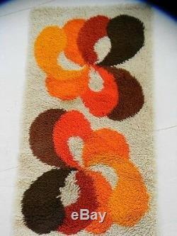Mid century danish modern rya 70s vintage one of a kind shag scandinavian rug