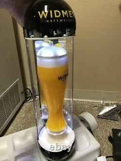 (NEW) 24 H WIDMER HEFEWEIZEN SPINNING GLASS LIGHT BEER SIGN, One Of The Kind