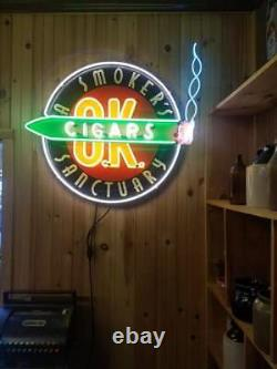 Neon Sign -A Smoker's Sanctuary Cigars O. K. 36 X 34 One of a Kind sign