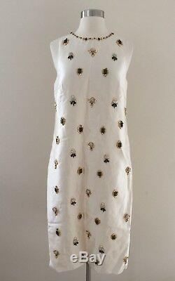 New Jcrew Collection Jewel Embellished Shift Dress Ivory 6 Rare! One Of A Kind