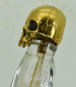 ONE OF A KIND Victorian hand cut mountain crystal Poison bottle. Skull cap. UNIQUE