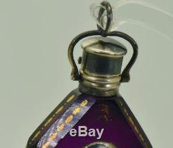 ONE OF A KIND Victorian purple crystal Skull poison bottle c1850's. Silver cap