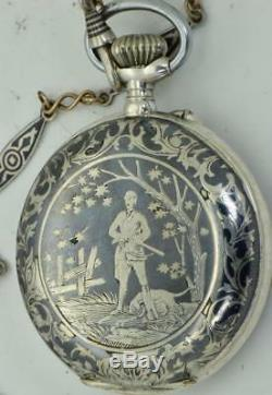 ONE OF A KIND WWI Bulgarian Military Officer's silver&niello watch. Award by King