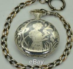 ONE OF A KIND antique Art-Nouveau Invar silver&niello CHRONOMETER pocket watch
