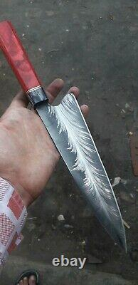 ONE OF KIND Damascus Steel Custom Hand Made Chef knife MOSAIC CINMAYE 13 WOOD