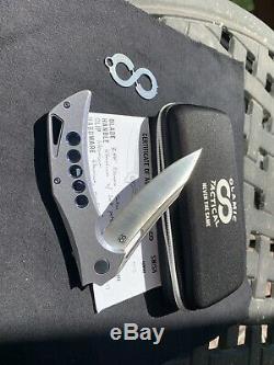 Olamic cutlery Swish New 5 Hole Flipper One Of Kind Blue Stone Wash Titanium