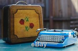 Olympia Cursive Twpewriter custom one of a kind paint and case blue paisley