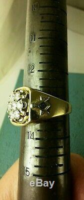 One Of A Kind 14k Dimaond (2tcw) Masonic Ring Best Looking And In Style Sz13.75