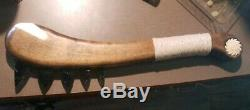 One Of A Kind Battle Axe War Club Knapped Obsidian Spikes Bone Inlay In Handle