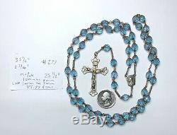 One Of A Kind Enormous Antique Sterling Saphiret Made Genuine Gold Rosary