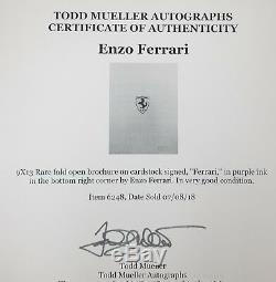 One Of A Kind Enzo Ferrari Hand Signed Fold Open Brochure Todd Mueller COA