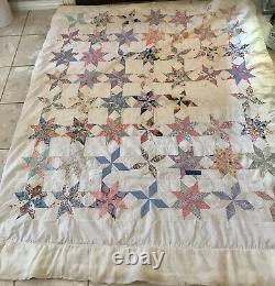 One Of A Kind HAND SEWN QUILT vintage antique HANDMADE Cotton 74 x 60 8 STARS