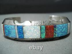 One Of A Kind Navajo Multi Colored Opals Inlay Sterling Silver Bracelet