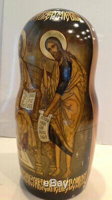 One Of A Kind Russian Religious Icons 30 Nest. Doll Holy Faces And Icons 19