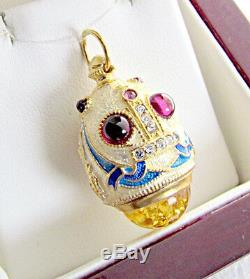 One Of A Kind Solid Sterling Silver 925 & 24k Gold Russian Enamel Egg Pendant