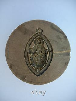 One Of A Kind Very Old Christian Bronze Mold Jesus Christ EYE Pendant Charm
