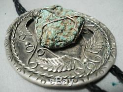One Of A Kind Vintage Navajo Dangling Turquoise Sterling Silver Bolo Tie